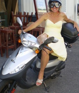 Susanne on a scooter