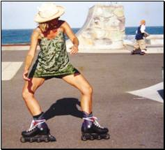 Sideways on roller blades